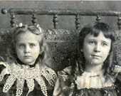 Knox Sisters in Lace Vintage Photo Beautiful Victorian Girls Unusual Size Swiss Panel Cabinet Card Antique Photograph