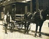 Milkman Horse Drawn Milk Wagon Vintage Occupational Photo Antique Photograph