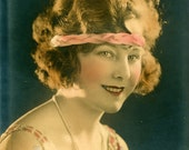 Beautiful Flapper Girl Gatsby Headband Pearls Hand Colored Antique Photo Vintage Photograph