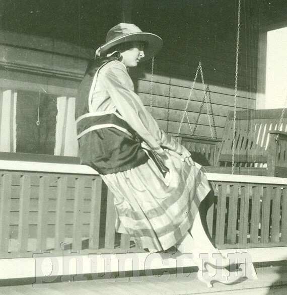 Downton Abbey Era Beauty Vintage Photo Beautiful Woman Edwardian Fashion Antique Photograph Sitting on Porch Rail