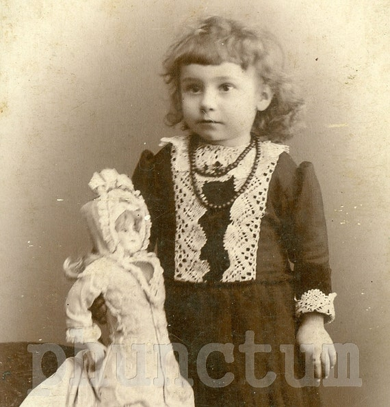 Antique Cabinet Card Photo: Sweet Little Girl and Her Fancy Doll