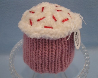 Knitted Strawberry Cupcake
