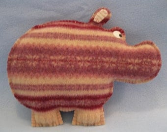 Felted Hippo Animal Pillow