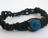 Black Soft Hemp Bracelet With Hand Painted Peace Sign (for small wrists)