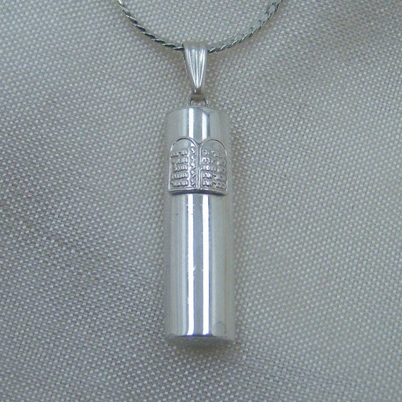 Sterling Silver Mezuzah Pendant Necklace