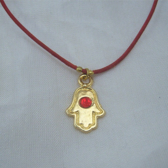 Choker/bracelet Hamsa With Red Stone and Leather Necklace