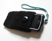 iPhone case iPod Touch cover HTC Droid Incredible Samsung bag mobile Smartphone holder BlackBerry cover, hand knit in black