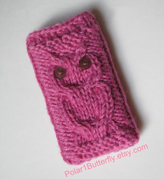 iPod Touch case, iPhone 5 sleeve, HTC Droid, Smartphone bag, iPod cover, Android Incredible, Samsung, chunky knit Owl in pink / berry