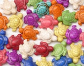Antique Look Rainbow Color Turtle Beads (9)