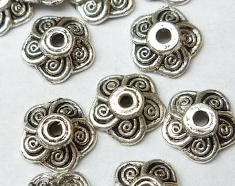 9mm Antiqued Silver Swirl Flower Bead Cap (20) - SF9