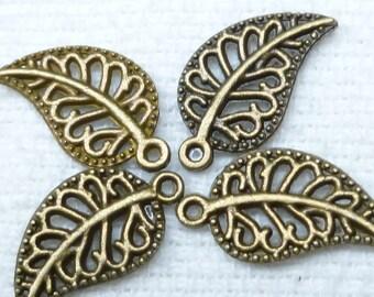 Antiqued Bronze Filigree Swirl Leaf Charms (10) - A47