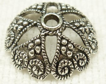 Vintage Style Flower Heart Bead Cap, Antiqued Silver (6) - SF3