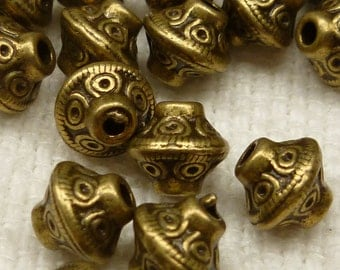 6x6mm Bronze Tone Bicone Tribal Spacer Beads (20) - BF11