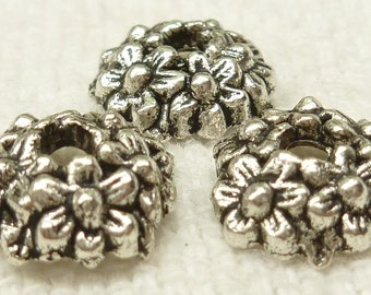 11mm Flower wreath Bead Caps, Silver Tone (10) - SF5