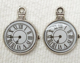 Roman Numerals Pocket Watch Resin Charm Pendant, Silver Tone (6) - S2