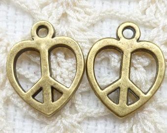Antiqued Bronze Tone Heart Frame Peace Symbol Charms (6)  - A70