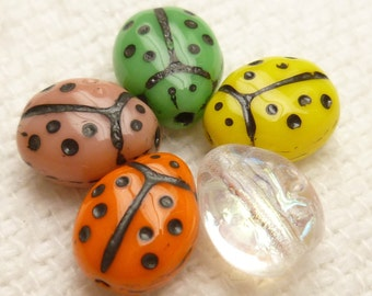 Multi color Czech Pressed Lady Bug Glass Beads (20)