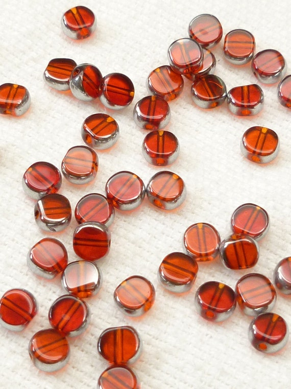 6mm Ruby Red Translucent Crystal Glass Coin Beads (20)