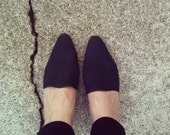 Vintage 80s Ellemenno Black Suede Leather Heel Mule Womens Shoe Size 7.5