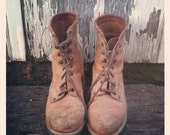 Vintage 90s Camel Leather Lace Up Boots by GUESS