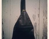 Vintage 90s Faux Leather Black Single Strap Mini Backpack Purse
