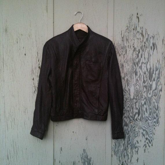 Vintage 80s Burgundy Soft Leather Cuff Collar Bomber Jacket Mens 40 Med