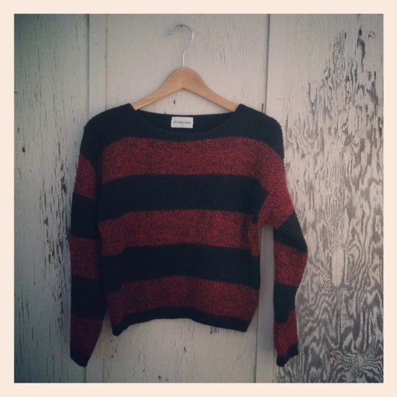 Vintage 90s Black & Red Stripe Grunge Wool Crop Sweater by JH Collectibles