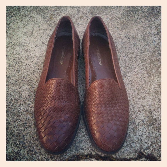 Vintage 90s Brown Leather Woven Flats Womens 7.5