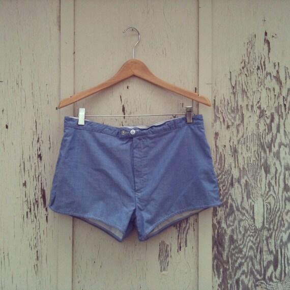 Vintage 80s Men's Preppy Light Blue Cotton Bathing Suit Shorts Size L