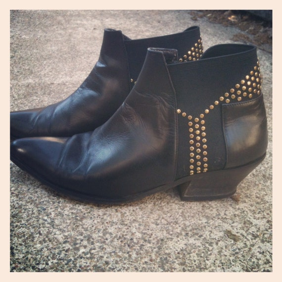Vintage 80s Black Leather and Gold Stud Ankle Boots Size 6