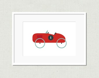 Nursery decor, nursery prints, vintage car, red car, nursery art, modern nursery art, modern kids art, colorful nursery art, kids prints