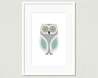 Modern owl print, owl illustration, modern nursery art, owl decor, childrens art print, kids room decor, colorful nursery art, grey owl