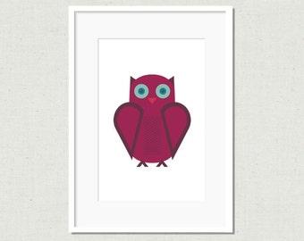 Modern owl print, owl illustration, owl decor, modern nursery art, childrens art, kids room art, colorful nursery art, purple owl