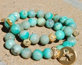 Aqua Green Fire Agate Gem Beads butterfly bracelet's