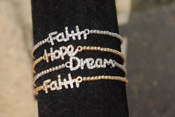 Hope Rhinestone Bracelet  Gold