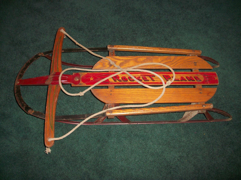 Rocket plane antique wooden snow sled for Vintage sleds
