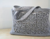 large crocheted shoulder bag - gray with gray lining