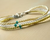 crochet tri-color beaded bracelet - cream green white with blue beads