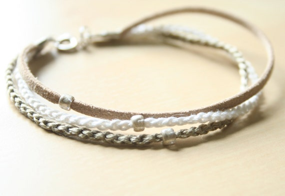 crochet tri-color beaded bracelet - tan with silver beads