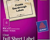 Avery Easy Peel Mailing Labels for Inkjet Printer - Clear full Sheet Labels - Create Large Labels, Custom Shapes and Signs