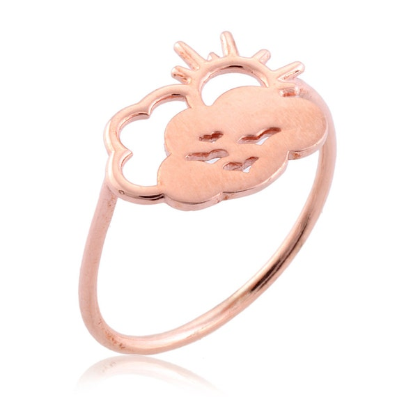 Cloud ring pink gold plated sterling silver