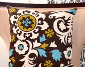designer pillow decorative pillow accent pillow Suzani Pillow Cushion Covers Designer fabric 18x18 inch Brown Teal Olive and natrual