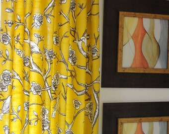 "Curtains panel Yellow drapes Designer flate Rod Top Drapery Panels-84"" inches-Your Choice of Fabric-Custom Lengths Available"