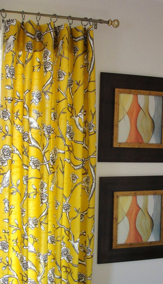Curtains Panel Yellow Drapes Designer Flate Rod Top Drapery