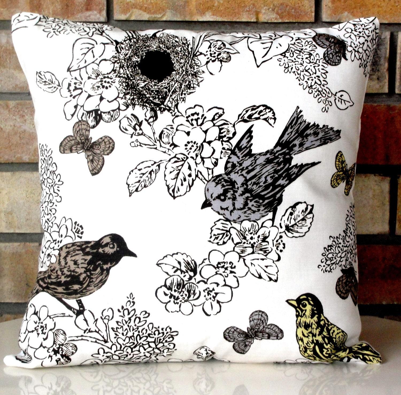 brown yellow grey pillow decorative pillow bird pillow. Black Bedroom Furniture Sets. Home Design Ideas