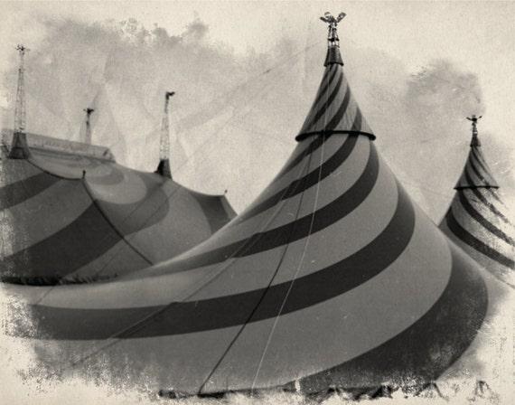 Vintage Circus Photo in Black & White Big Top