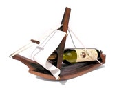 Rustic Upcycled Wine Barrel - Sailboat Wine Bottle Holder by Shojka