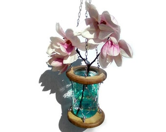 Hanging wooden vase with hand painted glass jar