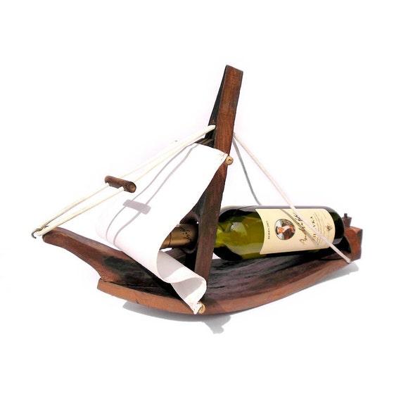 Rustic Upcycled Wine Barrel - Sailboat Wine Bottle Holder by Shojka