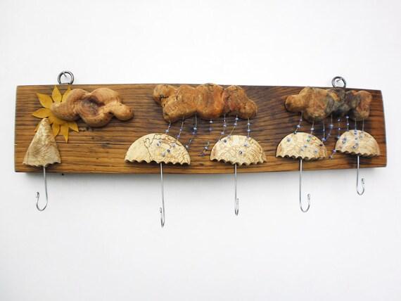 wood key rack, key hooks - clouds - umbrellas - rain and sun